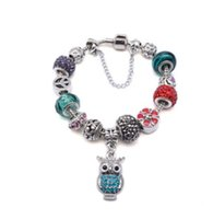 Wholesale Enamel Color Charm - Fashion 925 Sterling Silver Candy Color Murano Lampwork Glass & Crystal European Owl Pendant Dangle Charm Beads Fits Pandora Charm bracelet