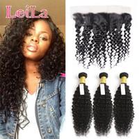 Wholesale Deep Wave Virgin Lace Frontal - Peruvian Virgin Human Hair Extensions 3 Bundles With 13 X 4 Lace Frontal Hair Weaves Frontal Deep Wave Curly Hair Bundles With Frontal