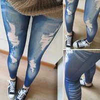 Wholesale Denim Look Tights - Wholesale- Ripped Denim Jeans Look Skinny Jeggings Tights Pants Trousers Blue