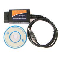 Wholesale Vw Scanner Software - Hot sale ELM327 V1.5 Plastic OBDII EOBD CANBUS Software Scanner Automotive OBD2 Scan Tool ELM 327 V 1.5 USB