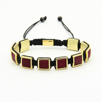 Wholesale Stingray Bracelet Wholesale - High Quality Mens Bracelets Wholesale 10pcs lot Micro Pave Beads Python Leather Stingray Macrame Bracelet For Party