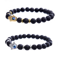 Wholesale Diamond Hand Bracelets - Hot Hamsa bracelet Fatima Hand bracelet Red Turquoise Good Luck Lava Rock Stone Bracelet For Men