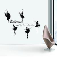 dans çıkarılabilir duvar etiketleri toptan satış-Çıkarılabilir Vinil Kağıt sanat Çıkartması dekor Sticker Bale dans duvar çıkartmaları çocuk gerçek dans dekorasyon çıkartmaları