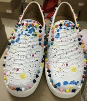 Wholesale gold metal spikes - 2018 new High-end custom metal studded spikes casual shoes for men low top sneakers with soft bottom,genuine leather size:36-47