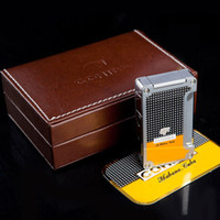 Wholesale Cohiba Torch - Cohiba High Quality Metal Classic Torch Jet Frame Cigar Cigarette lighter Yellow Color with Cigar Punch