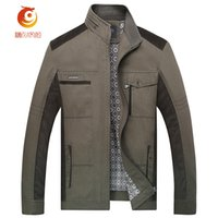 Wholesale Collar Hombre - Wholesale- stand collar Jacket jaqueta masculina Brown denim jacket men Veste Homme Spring zipper Windproof Windbreaker Chaquetas Hombre