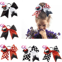 """Wholesale Ponytail Pink Bows - 7"""" Cheer Bows Hair Elastic Band Cartoon Pink Glittering Polka Dot Hairbands Leather Cloth Girl Ponytail Hair Holders for Cheerleading Girl"""