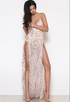 Wholesale Spaghetti Strap Dress Shining - Luxury Shining Party Dress Sexy Long Sequined Tassels Skirt Backless Dress Split Date Perspective Long Skirt