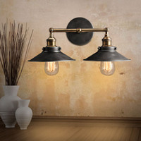 Wholesale Coffee Bathroom - Vintage Plated Industrial Wall Lamp Retro RH Loft LED Wall Light Bar Coffee Stair Bathroom Iron Wall Sconce with E27 Edison Bulb
