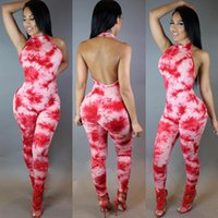 Wholesale New Club Bodysuits - Wholesale- 2016 New Hot Sexy Macacao Feminino Colorful Print Sheath Jumpsuits Bodycon Bandage Bodysuits Open Back Halter Night Club Catsuit