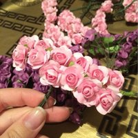 Wholesale Wedding Mini Paper Roses - 144pcs Mini Cute Paper Rose Handmade Artificial Flower For Wedding Decoration DIY Wreath Gift Scrapbooking Craft Fake Flower