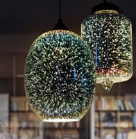 Wholesale Dinning Plates - Modern led 3D industrial pendant light,dia 22 20cm colorful plated glass lampshade hanging lamp for dinning living room lighting LLFA
