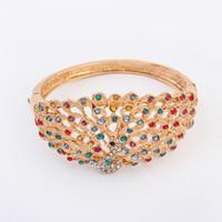 Wholesale Peacock Ring Bracelet - Fashion Exaggerated Peacock Newmond Open Bracelet Silver Gold Bangle Diamond Women Bracelet High Quality Crystal Jewelry