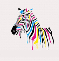 Wholesale Zebra Print Wall Decor - Colorful Zebra,Hand-painted Modern Lovely Cartoon Animals Art Oil Painting,Home Wall Decor On High Quality Canvas Multi sizes yangze A073