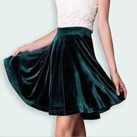 Wholesale Teenagers Skirts - Fashion Autumn Faldas 2016 New Women European Luxury Style Clothing Sexy Mini Gold Velvet Pleated Short Skirts For Teenager Girl q0506