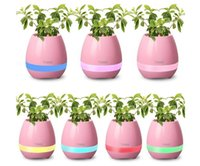 Wholesale 2017 new Plastic white pink blue cute music bluetooth speaker flower pot planter nursery pots for home office decoration musical speakers