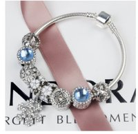 2017 Hot Selling Fashion Charm Blue Cat's Eye Zircon Pulseiras de prata European Charm Snake Chain DIY Beads Fit Pandora Bracelets for Women