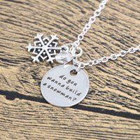 """Wholesale Colored Snowflakes - 12pcs lot Inspired Necklace Elsa Do you wanna build a snowman?"""". Silver colored snowflake, for women or girls."""