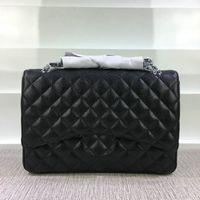 Wholesale white star dress - Free Shipping! Caviar Genuine Leather Hardware Black Jumbo Chain Bags Shoulder Bag 58601