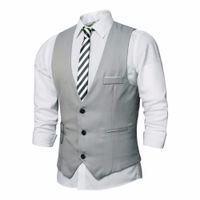 Wholesale Business Vests For Men - Wholesale- 2017 New Dress Vests For Men Slim Fit Mens Suit Vest Male Waistcoat Gilet Homme Casual Formal Business Sleeveless Jacket