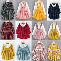 Wholesale Eyelash Bow - 6 styles 16 color new arrival Girl spring autumn Cartoon Curved Eyelashes and rabbit and peach blossom printed long sleeve cotton dress
