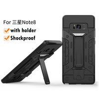 Wholesale ironman armor - Armor Hybrid Case For Galaxy Note8 Note 8 Kickstand Shockproof Hard Plastic+TPU+UV Ironman Skin Holder Defender Cover