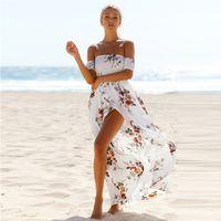 Wholesale Strapless Boho Maxi Dress - Boho Style Summer Beach Dress Tunic 2017 Robe Longue Femme Off The Shoulder Strapless Vintage Floral Print Maxi Dresses Long