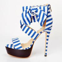 Wholesale Stripped Heels - Blue Strips Platform High Heels Sandals For Women Open Toe Shoes Summer Style Gladiator Sandals Women Platform Sandals