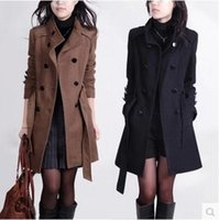 Wholesale New Europe and America Fashion Coat For Women Winter Long Ladies Jackets Wool Coats