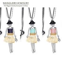 Wholesale Girls Birthday Sweater - Rhinestone Sweater Chain Long Necklaces Pendants for Women Neoglory Figure Girl Cute Jewelry 2017 New Birthday Gifts Elegant GN