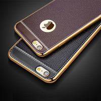 Wholesale Gold Pattern Framing - Luxury Retro Leather Pattern Soft TPU Phone Case For iPhone X 8 8Plus 6 6S Ultrathin Plating Gold Frame Back Covers