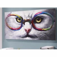 Wholesale Cat Hand Oil Painting - Rich color fashion a cat ,Pure Hand Painted Modern Wall Decor Animal Pop Art Oil Painting On Quality Canvas.Multi customized size liveonmyea