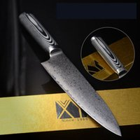 Wholesale High End Damascus Steel Knives - G-10 fiberglass handle double steel head 8-inch Chef Knife High-end Kitchen Knife Stainless Steel Damascus Knives