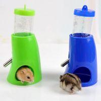 Wholesale Dispenser Bottle Holder - ASLT Multi Candy Color Small Water Drinking Bottle Animal Hideout Nest Toy Hamster Holder Dispenser With Base Hut 2 in 1