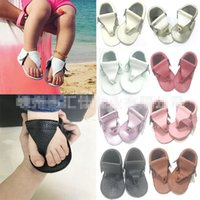 Wholesale Green Color Baby Shoes - Baby Sandals Flip-flops Genuine Leather Non-slip Breathable Soft Sole Prewalkers First Walking Shoes Baby First Walkers