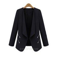 Wholesale Women Formal Suits Wholesale - Wholesale- 1 Pcs High Quality Women's Small Leisure Suit Jacket Zipper Long Sleeve Solid Thin Coat for Spring Autumn 3 Colors