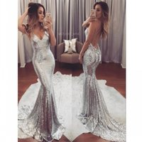 Wholesale Cheap Pink Shirts For Women - Sexy Silver Sequin Evening Dresses Long V Neck Cheap Party Gowns Backless Sweep Train Formal Prom Dress for Women