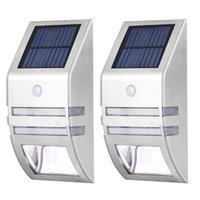 Wholesale Stainless Steel Solar Garden Lamp - Wholesale-2* Stainless Steel LED Solar Power Smart Motion Sensor Garden Security led Lamp Outdoor Wall Lights For Home Warm White