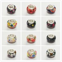 Wholesale Acrylic Flower Beads 14mm - 14MM Acrylic European Charms Beads Cord Flower Print Big Hole Loose Bead Fit Pandora Charms Bracelet Bangle DIY Jewelry Finding Accessory