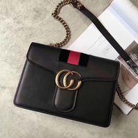 Wholesale Tiger Stripe Bag - Marmont web shoulder bags women luxury brand tiger head crossbody bag chain messenger bags fashion Genuine Leather handbags purse 2018