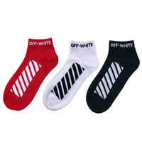 Wholesale Women White Ankle Socks - 2017 Unisex Striped Tie Dye Socks Men Hip-hop Compression Off White Short Socks Justin Bieber Men's Women Skateboard Socks Free Shipping