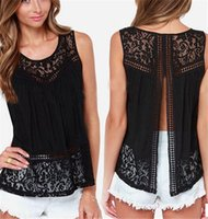 Wholesale Women Shirt Tank Crochet - Summer Women Chiffon Crochet Lace Vest Blouse Shirt Sexy Open Back Sleeveless Shirts Tank Tops Black Blusas Femininas