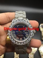 Wholesale Diamond Watch Band Men - 2017 NEW Luxury 43mm Big diamond Mechanical man watch (Multi color dial) All diamond band Automatic Stainless steel men watches Silver Blue