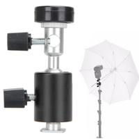 Wholesale Photography C - Black Universal 360 Degree Camera Flash Hot Shoe Adapter Umbrella Holder Swivel Light Stand Bracket Type C Photography Accessory