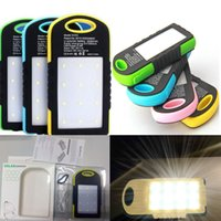 Wholesale Ipad Mp4 Mp3 - 5000mAh Solar Charger Battery Solar Panel Portable Power Bank for Cell phone Ipad With Flashlight with 2 USB Port waterproof shockproof