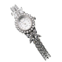 Wholesale cubic zirconia watches - Wristwatch Stainless Steel Band Watch Gemstone Silver Wristwatch Cubic Zirconia Sparkle Link Bracelet Party Wristwatches 7.5 INCH