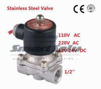 "Wholesale Plug Medium Steel - 1 2"" Stainless Steel Electric Solenoid Valve 12VDC Normally Closed FKM 2S160-15 DC24V,AC110V or AC220V"
