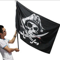 Wholesale Jolly Roger Flag Skull - Brand New Huge 3x5FT Skull and Cross Crossbones Sabres Swords Jolly Roger Pirate Flags With Grommets Decoration Party Halloween Decorations