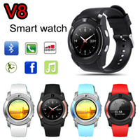 Wholesale android phones hd display for sale – best V8 Smart Watch SIM Phone Round Dial Bluetooth Full HD Display with M Camera MTK6261D Sports Smartwatch Wearable Wristwatch VS GT08 DZ09
