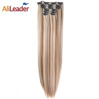 "Wholesale Brown Frosted Hair Extensions - Wholesale- Alileader Products Full Head Clip In Hair Extensions 6 Pcs Set 16 Clips 140G 22"" Long Straight Fake Hair Pieces Blonde To Brown"
